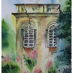 haunted or someone wanted, 20 x 14 inch, vivek anand,20x14inch,handmade paper,paintings,cityscape paintings,landscape paintings,paintings for living room,watercolor,GAL0366024811