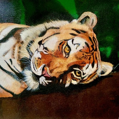pride of the jungle, 19 x 16 inch, jahanvi kumari,19x16inch,canvas,paintings,wildlife paintings,nature paintings,animal paintings,realistic paintings,paintings for dining room,paintings for living room,paintings for bedroom,paintings for office,paintings for bathroom,paintings for kids room,paintings for hotel,paintings for kitchen,paintings for school,paintings for hospital,acrylic color,GAL01421224815,national animal,tiger,pride