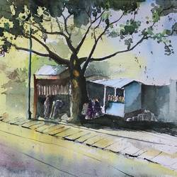 morning tea, 20 x 14 inch, vivek anand,20x14inch,handmade paper,cityscape paintings,watercolor,GAL0366024817