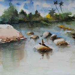 riverside, 20 x 14 inch, vivek anand,20x14inch,handmade paper,landscape paintings,watercolor,GAL0366024818