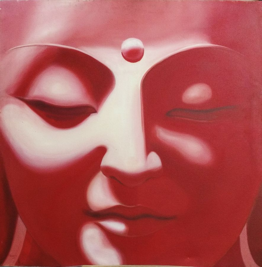 serenity 1, 30 x 30 inch, preeti chaturvedi,30x30inch,canvas,buddha paintings,paintings for living room,paintings for living room,oil color,GAL01421924825