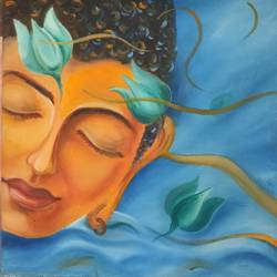 serenity 4, 18 x 18 inch, preeti chaturvedi,18x18inch,canvas,paintings,buddha paintings,paintings for living room,oil color,GAL01421924828