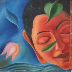serenity 5, 18 x 18 inch, preeti chaturvedi,18x18inch,canvas,paintings,buddha paintings,paintings for living room,oil color,GAL01421924829