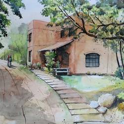 bhoomi ecological college, 22 x 15 inch, vivek anand,22x15inch,fabriano sheet,paintings,landscape paintings,watercolor,GAL0366024831