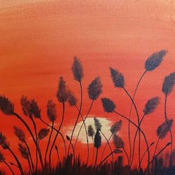 sunset aura, 10 x 10 inch, aditi site,10x10inch,canvas,nature paintings,acrylic color,GAL01422024837