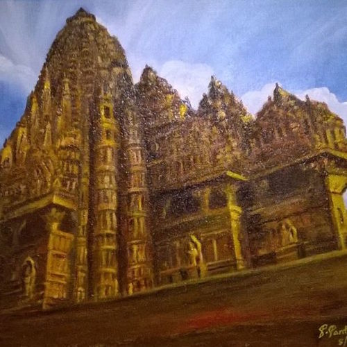 temple, 12 x 15 inch, prabha  panth,12x15inch,canvas board,landscape paintings,paintings for living room,paintings for living room,acrylic color,GAL0390724844