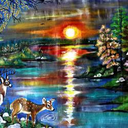 wild life beauty, 53 x 31 inch, manisha adhikari kiroula,53x31inch,cloth,paintings,wildlife paintings,nature paintings,animal paintings,paintings for living room,paintings for office,paintings for kids room,paintings for hotel,paintings for school,paintings for hospital,acrylic color,GAL01416824845