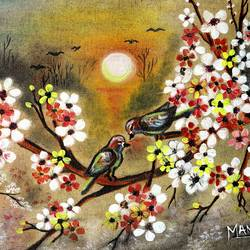 two birds and sunset, 16 x 12 inch, manisha adhikari kiroula,16x12inch,canvas,paintings,flower paintings,nature paintings,paintings for living room,paintings for bedroom,paintings for office,paintings for kids room,paintings for hotel,paintings for school,oil color,GAL01416824847