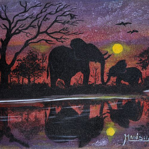 mother's love , 16 x 12 inch, manisha adhikari kiroula,16x12inch,canvas,paintings,animal paintings,elephant paintings,paintings for living room,paintings for bedroom,paintings for office,paintings for kids room,paintings for hotel,paintings for school,paintings for hospital,acrylic color,GAL01416824850