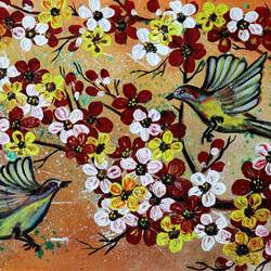 bird's and flowers, 20 x 11 inch, manisha adhikari kiroula,20x11inch,canvas,paintings,flower paintings,nature paintings,paintings for living room,paintings for bedroom,paintings for office,paintings for kids room,paintings for hotel,paintings for school,paintings for hospital,acrylic color,GAL01416824854
