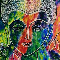 pax deus, 18 x 24 inch, satyashree behera,18x24inch,canvas,paintings,buddha paintings,paintings for living room,paintings for office,acrylic color,GAL01422924871