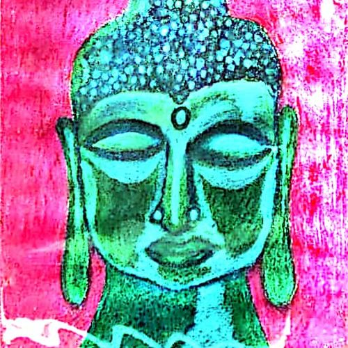 lord buddha - source of happiness, 11 x 15 inch, rita dash,11x15inch,rice paper,paintings,buddha paintings,paintings for living room,paintings for office,paintings for hotel,paintings for school,pastel color,paper,GAL01382124873