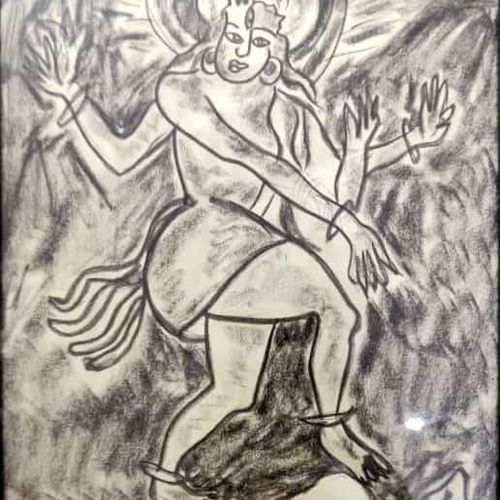 shiva tandava, 13 x 19 inch, rita dash,13x19inch,rice paper,paintings,religious paintings,paintings for dining room,paintings for living room,paintings for office,paintings for hotel,paintings for school,charcoal,paper,GAL01382124874