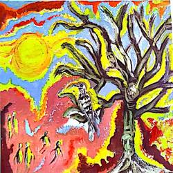 a dry tree, 12 x 12 inch, rita dash,12x12inch,canvas,paintings,acrylic color,paper,GAL01382124885