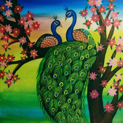 peacock pareja, 18 x 24 inch, satyashree behera,18x24inch,canvas,paintings,nature paintings,animal paintings,paintings for living room,paintings for bedroom,acrylic color,GAL01422924891