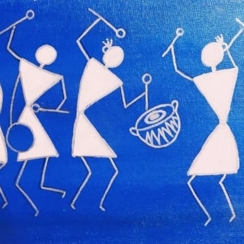 jamboree, 24 x 12 inch, satyashree behera,24x12inch,canvas,paintings,warli paintings,paintings for living room,paintings for bedroom,acrylic color,GAL01422924894
