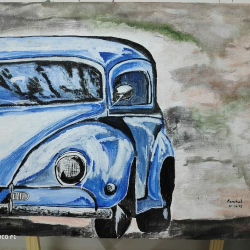 vintage car, 16 x 20 inch, aanchal khemka,16x20inch,canvas,paintings,art deco paintings,paintings for living room,acrylic color,GAL01424224895