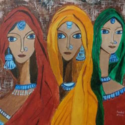 tribal women, 16 x 20 inch, aanchal khemka,16x20inch,canvas,paintings,art deco paintings,paintings for dining room,paintings for living room,acrylic color,GAL01424224896