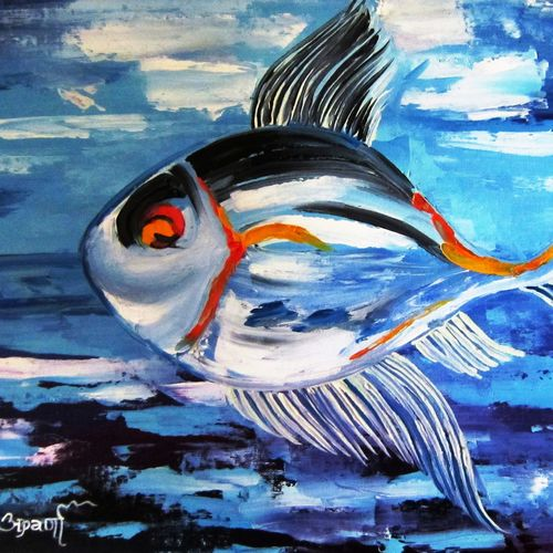 fish in blue, 12 x 16 inch, aparna warade,abstract paintings,paintings for dining room,canvas,oil,12x16inch,GAL089249