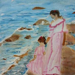 mother and daughter, 12 x 10 inch, aanchal khemka,12x10inch,canvas,paintings,art deco paintings,paintings for dining room,paintings for living room,paintings for kids room,paintings for hotel,paintings for school,oil color,GAL01424224901