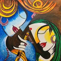 radha krishna love, 12 x 16 inch, vimal drall,12x16inch,canvas,paintings,radha krishna paintings,paintings for living room,paintings for living room,acrylic color,GAL01417724909