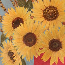 """sunflowers"", 14 x 18 inch, shivi razdan,14x18inch,canvas,paintings,flower paintings,acrylic color,GAL01422724911"