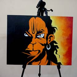 hanuman, 24 x 18 inch, umakant choudhary,24x18inch,canvas board,paintings,abstract paintings,modern art paintings,religious paintings,portrait paintings,street art,paintings for living room,paintings for school,paintings for hospital,acrylic color,GAL01424524915