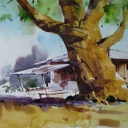 tree and the dhaba, 15 x 11 inch, arnab bhattacharjee,15x11inch,fabriano sheet,paintings,landscape paintings,paintings for living room,paintings for bedroom,paintings for office,paintings for hotel,watercolor,GAL0890224921