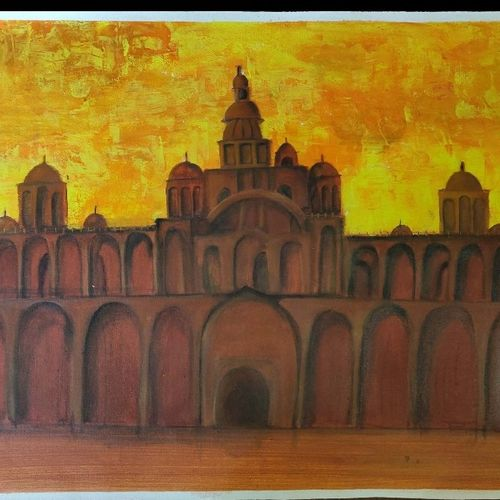 fort, 40 x 23 inch, bharani archana,40x23inch,canvas,paintings,landscape paintings,paintings for living room,acrylic color,GAL01153024927
