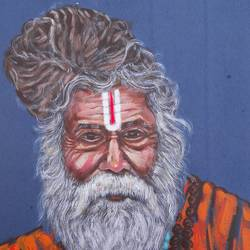 spiritual sadhu, 8 x 11 inch, manju prajapati,8x11inch,thick paper,paintings,contemporary paintings,acrylic color,GAL01187224931