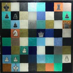 chess board, 18 x 18 inch, vishal shrimani,18x18inch,acrylic glass,paintings for dining room,art deco drawings,cubism drawings,paintings for dining room,acrylic color,ink color,glass,bronze,GAL0911424935