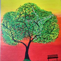 tree painting, 14 x 18 inch, sumit  sharma,14x18inch,canvas,paintings,abstract paintings,nature paintings,paintings for living room,paintings for bedroom,paintings for office,paintings for hotel,paintings for hospital,acrylic color,GAL01425824940