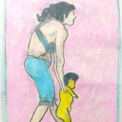 mother teaching the child to walk, 12 x 15 inch, rita dash,12x15inch,rice paper,paintings,expressionism paintings,paintings for dining room,paintings for living room,paintings for office,paintings for hotel,paintings for school,pastel color,GAL01382124942