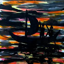 boat, 10 x 17 inch, tamal sen sharma,10x17inch,cartridge paper,paintings,figurative paintings,nature paintings,miniature painting.,paintings for dining room,paintings for living room,paintings for bedroom,paintings for office,paintings for bathroom,paintings for kids room,paintings for hotel,paintings for kitchen,paintings for school,paintings for hospital,acrylic color,mixed media,GAL01201324949