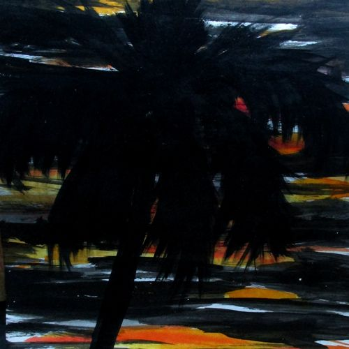 palm tree, 10 x 17 inch, tamal sen sharma,10x17inch,cartridge paper,paintings,nature paintings,paintings for dining room,paintings for living room,paintings for bedroom,paintings for office,paintings for bathroom,paintings for kids room,paintings for hotel,paintings for kitchen,paintings for school,paintings for hospital,acrylic color,mixed media,GAL01201324954