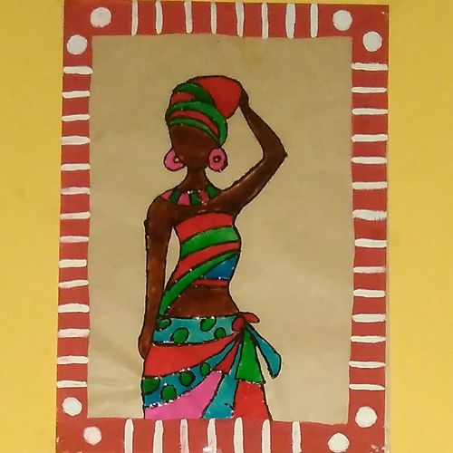 painting of african lady, 8 x 11 inch, sharmila  pk,8x11inch,ohp plastic sheets,figurative paintings,paintings for dining room,paintings for living room,paintings for bedroom,paintings for office,paintings for dining room,paintings for living room,paintings for bedroom,paintings for office,glass,GAL021324959