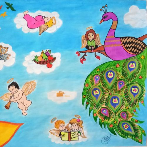angels' hangout place with beautiful nature, 28 x 22 inch, kashish thakur,28x22inch,drawing paper,paintings,figurative paintings,flower paintings,multi piece paintings,nature paintings,baby paintings,children paintings,kids paintings,paintings for dining room,paintings for living room,paintings for bedroom,paintings for kids room,paintings for hotel,paintings for kitchen,paintings for school,paintings for hospital,poster color,watercolor,GAL01404024971