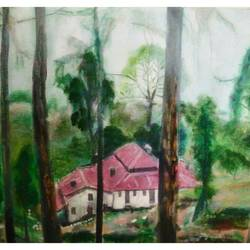 lansdowne cottage, 34 x 24 inch, rajinder koul,34x24inch,canvas,paintings,landscape paintings,nature paintings,paintings for dining room,paintings for bedroom,paintings for bathroom,paintings for hotel,paintings for hospital,acrylic color,GAL01404524972