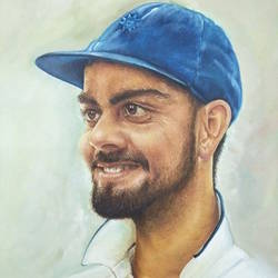 virat kohli, 16 x 20 inch, harish  mehra,16x20inch,canvas,mother teresa paintings,paintings for living room,paintings for living room,oil color,GAL01428524982