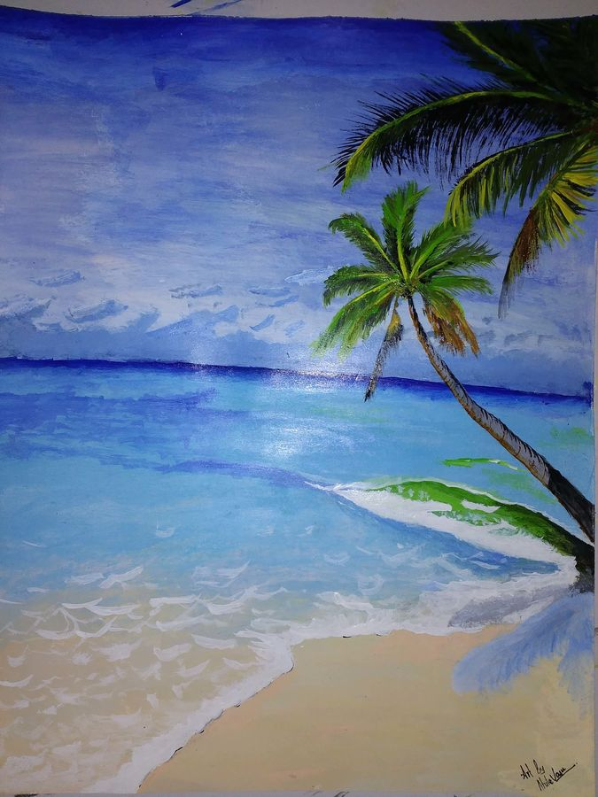 sea , 12 x 15 inch, ahila amuthavasan,nature paintings,paintings for living room,love paintings,thick paper,acrylic color,12x15inch,GAL010092499Nature,environment,Beauty,scenery,greenery,trees,water,beautiful,leaves,coconut tree,beach