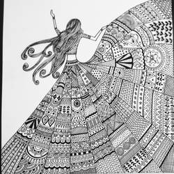 doodle art, 11 x 12 inch, geeta kwatra,11x12inch,drawing paper,paintings,abstract paintings,paintings for living room,paintings for office,paintings for hotel,ink color,GAL0899124993