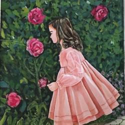 girl in the garden, 18 x 24 inch, kangana vohra,18x24inch,canvas,paintings,portrait paintings,nature paintings,impressionist paintings,photorealism paintings,realism paintings,realistic paintings,children paintings,kids paintings,paintings for dining room,paintings for living room,paintings for bedroom,paintings for kids room,paintings for school,paintings for hospital,acrylic color,GAL0725824994