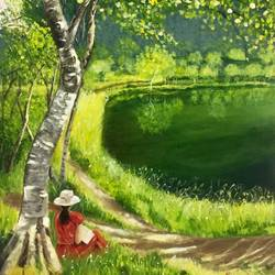 my quiet place, 18 x 24 inch, kangana vohra,18x24inch,canvas,paintings,landscape paintings,nature paintings,impressionist paintings,realism paintings,children paintings,kids paintings,paintings for dining room,paintings for living room,paintings for bedroom,paintings for office,paintings for bathroom,paintings for kids room,paintings for hotel,paintings for kitchen,paintings for school,paintings for hospital,acrylic color,GAL0725824996,trees,water,beautiful,leaves,flowers,lady