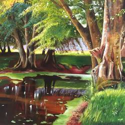 tree by the pond, 30 x 24 inch, kangana vohra,30x24inch,canvas,paintings,landscape paintings,nature paintings,photorealism paintings,photorealism,realism paintings,surrealism paintings,realistic paintings,paintings for dining room,paintings for living room,paintings for bedroom,paintings for office,paintings for kids room,paintings for hotel,paintings for school,paintings for hospital,acrylic color,GAL0725824997