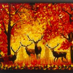 deer in the forest, 20 x 16 inch, kangana vohra,20x16inch,canvas,paintings,wildlife paintings,landscape paintings,impressionist paintings,paintings for dining room,paintings for living room,paintings for bedroom,paintings for office,paintings for kids room,paintings for hotel,paintings for school,paintings for hospital,acrylic color,GAL0725824999