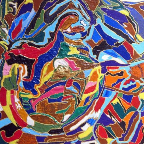 modern day mosaic, 12 x 12 inch, sangeeta choudhary,paintings for bedroom,abstract paintings,canvas,mixed media,12x12inch,GAL01425