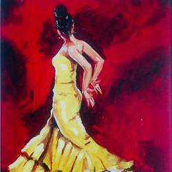 flamenco dancer, 12 x 16 inch, kangana vohra,12x16inch,canvas,paintings,figurative paintings,conceptual paintings,portrait paintings,impressionist paintings,portraiture,realism paintings,street art,paintings for dining room,paintings for living room,paintings for bedroom,paintings for office,paintings for bathroom,paintings for kids room,paintings for hotel,paintings for kitchen,paintings for school,paintings for hospital,acrylic color,GAL0725825001