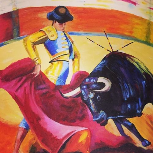 spanish bull fight, 16 x 20 inch, kangana vohra,16x20inch,canvas,paintings,figurative paintings,conceptual paintings,portrait paintings,art deco paintings,portraiture,realism paintings,street art,animal paintings,realistic paintings,paintings for dining room,paintings for living room,paintings for bedroom,paintings for office,paintings for bathroom,paintings for kids room,paintings for hotel,paintings for kitchen,paintings for school,paintings for hospital,acrylic color,GAL0725825003
