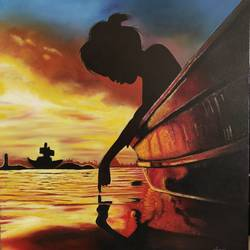 a woman sitting on the boat , 24 x 30 inch, laxmi sharma,24x30inch,canvas,paintings,nature paintings,paintings for dining room,paintings for living room,paintings for hotel,oil color,GAL01411325010