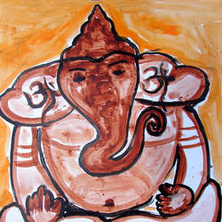 ganesha-1, 16 x 20 inch, anand manchiraju,16x20inch,ivory sheet,ganesha paintings,paintings for dining room,paintings for living room,paintings for hotel,paintings for hospital,paintings for dining room,paintings for living room,paintings for hotel,paintings for hospital,acrylic color,GAL01254025015